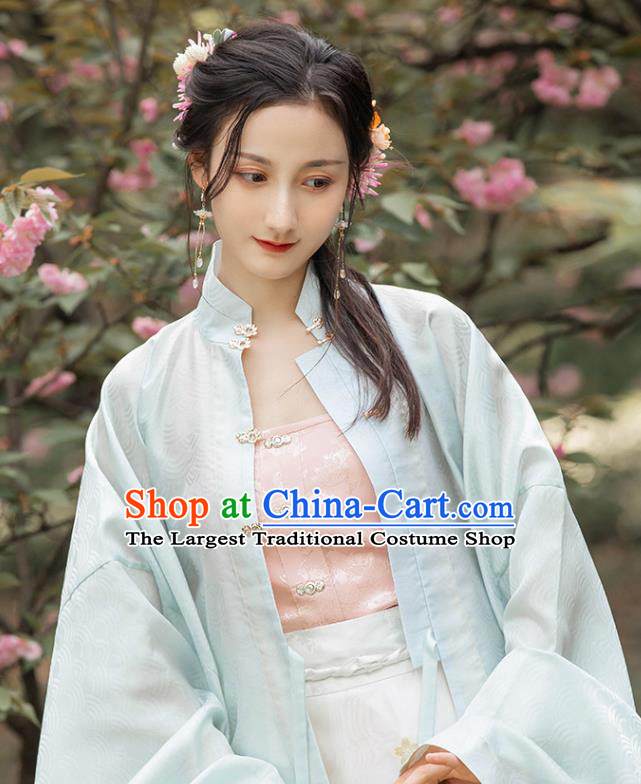 Chinese Traditional Ming Dynasty Noble Lady Pink Brocade Waistcoat Ancient Palace Princess Garment Corset Vest Historical Costumes