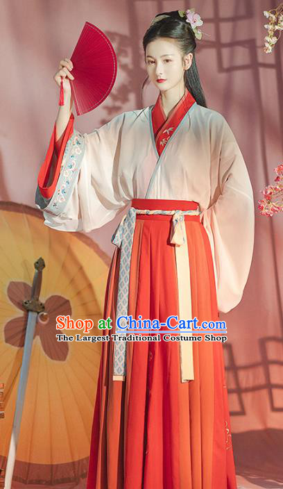 Traditional Chinese Jin Dynasty Red Hanfu Dress Ancient Patrician Lady Garment Historical Costumes