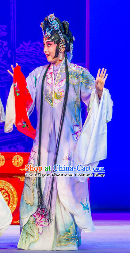 Chinese Kun Opera Actress Princess Purple Dress Costumes and Headpieces Nan Ke Dream Kunqu Opera Diva Garment Apparels