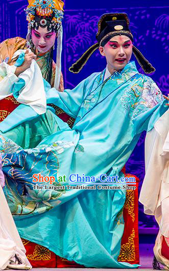 Chinese Kun Opera Scholar Young Male Costumes Nan Ke Dream Garment and Headwear Kunqu Opera Xiaosheng Chunyu Fen Blue Robe Apparels Clothing