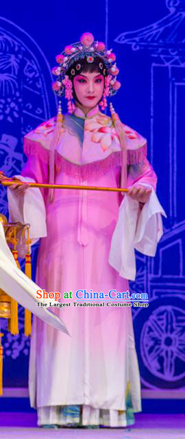 Chinese Kun Opera Court Maid Pink Dress Costumes and Headpieces Nan Ke Dream Kunqu Opera Diva Garment Apparels