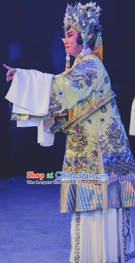 Chinese Kun Opera Elderly Female Dress Costumes and Headdress Nan Ke Dream Kunqu Opera Empress Garment Apparels