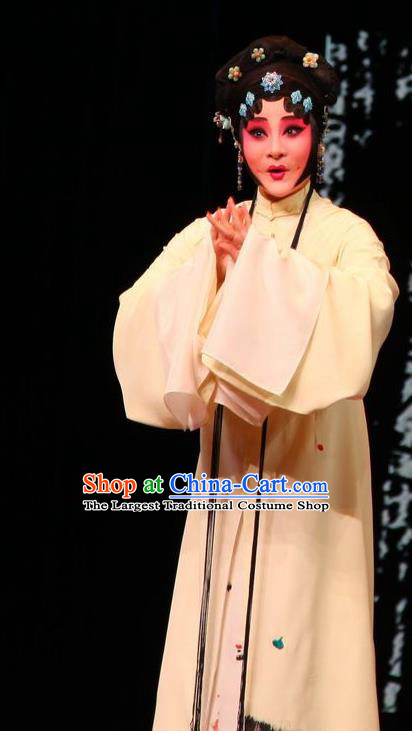 Chinese Kun Opera Young Mistress Li Ruoshui Blue Dress Costumes and Headpieces Heros Kunqu Opera Hua Tan Garment Apparels