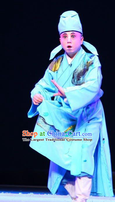 Chinese Kun Opera Young Male Garment Apparels Clothing and Headwear Wu Shi Ji Kunqu Opera Xiaosheng Robe Costumes