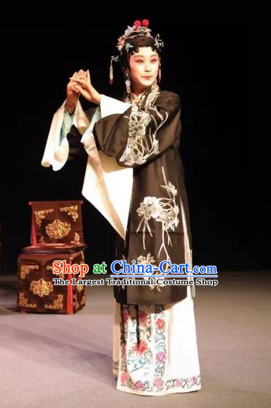 Chinese Kun Opera Tsing Yi Dress Costumes and Headdress On A Wall and Horse Kunqu Opera Actress Li Qianjun Garment Apparels