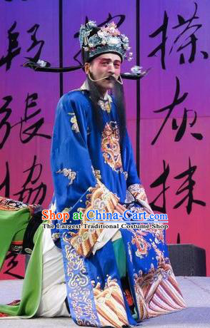 Chinese Kun Opera Elerly Male Number One Scholar Zhang Xie Garment Costumes and Headwear Kunqu Opera Official Wang Deyong Apparels Clothing