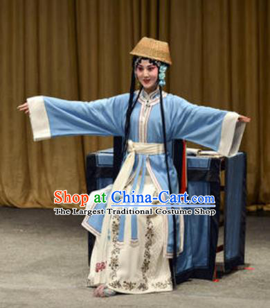 Chinese Kun Opera Country Woman Blue Dress Apparels Costumes and Headpiece Lan Ke Mountain Kunqu Opera Mistress Cui Garment