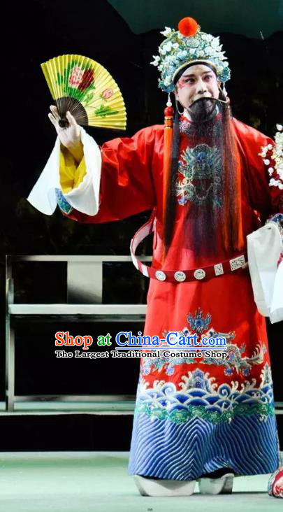 Rain on the Phoenix Tree Chinese Kun Opera Elderly Male Garment Costumes and Headwear Kunqu Opera Apparels Tang Emperor Clothing