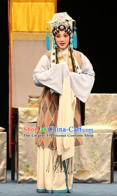Chinese Kun Opera Elderly Female Dress Apparels Costumes and Headdress Bai Luo Shan Kunqu Opera Taoist Nun Su Garment