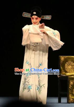 Bai Luo Shan Chinese Kun Opera Young Male Apparels Garment Costumes and Headwear Kunqu Opera Scholar Xu Jizu White Robe Clothing