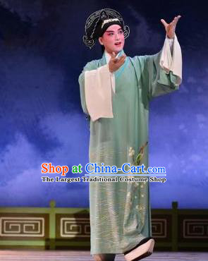 Bai Luo Shan Chinese Kun Opera Scholar Su Yun Apparels Garment Costumes and Headwear Kunqu Opera Xiaosheng Green Robe Clothing