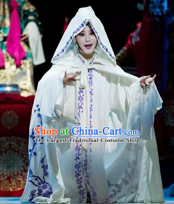 Chinese Kun Opera Distress Maiden Fu Guiying Dress Apparels Costumes and Headdress Burning Incense Kunqu Opera Tsing Yi White Garment