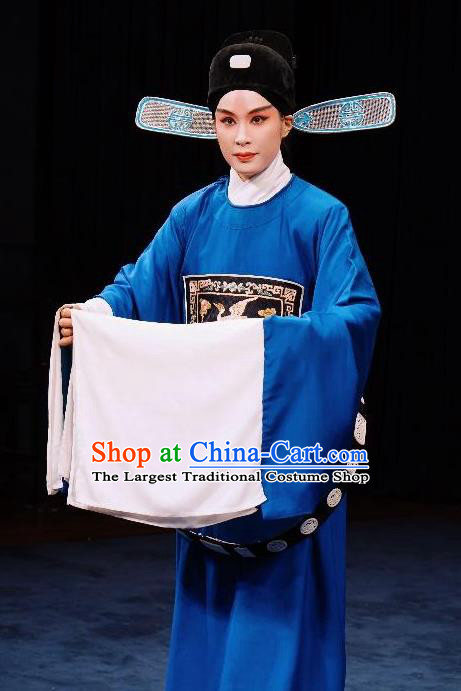 Bai Luo Shan Chinese Kun Opera Niche Apparels Garment Costumes and Headwear Kunqu Opera Xiaosheng Xu Jizu Clothing Official Vestment