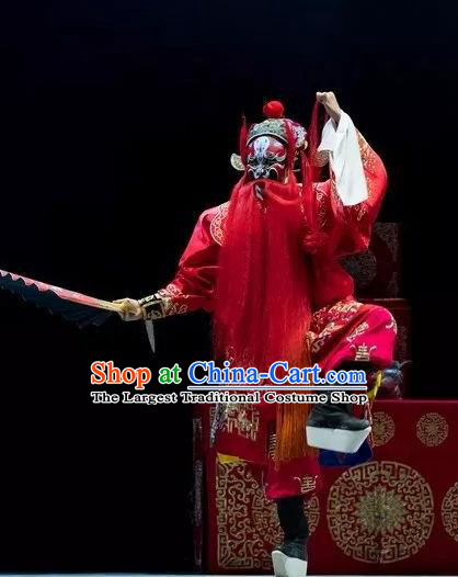 Burning Incense Chinese Kun Opera Wusheng Red Apparels Garment Costumes and Headwear Kunqu Opera Warrior Clothing