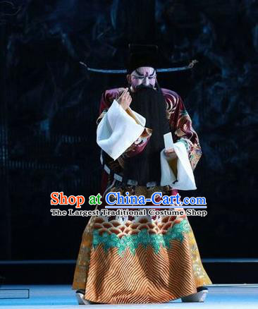 Chinese Kun Opera Rain on the Phoenix Tree Garment Costumes and Headwear Kunqu Opera Elderly Male Official Apparels Clothing
