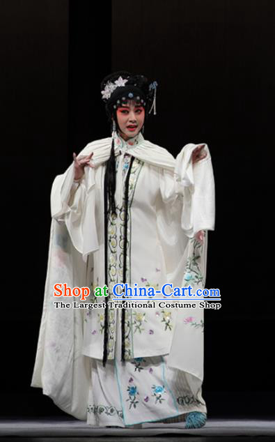 Chinese Kun Opera Actress Xue Baochai White Dress Apparels Costumes and Headdress Dream of Red Mansions Kunqu Opera Hua Tan Noble Lady Garment