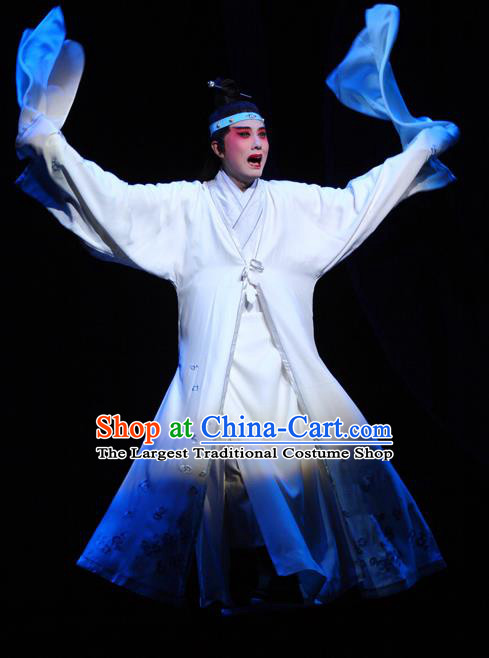 Chinese Kun Opera Young Male Niche Dream of Red Mansions Jia Baoyu Apparels Garment Costumes and Headwear Kunqu Opera Xiaosheng White Clothing