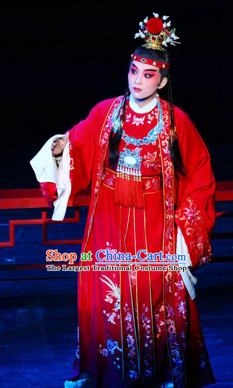Chinese Kun Opera Young Male Red Apparels and Headwear Dream of Red Mansions Jia Baoyu Garment Costumes Kunqu Opera Niche Clothing