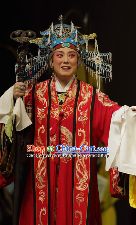 Chinese Kun Opera Laodan Embroidered Dress Apparels Costumes and Headdress Dream of Red Mansions Kunqu Opera Dowager Countess Jia Garment