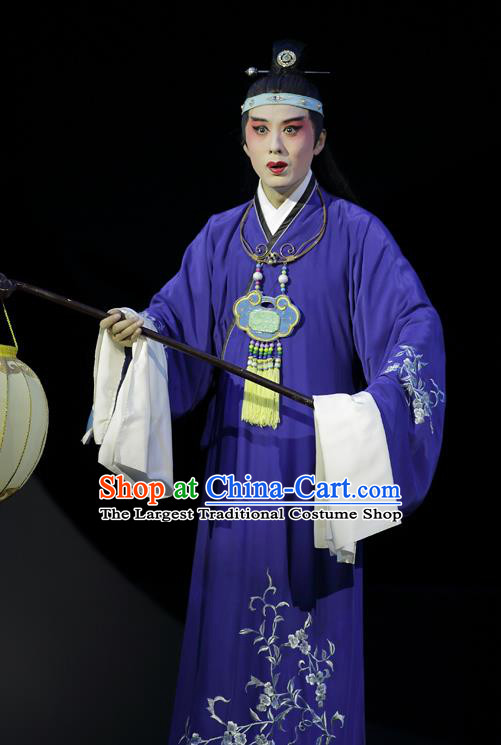 Chinese Kun Opera Apparels and Headwear Dream of Red Mansions Jia Baoyu Garment Costumes Kunqu Opera Young Male Purple Robe Clothing