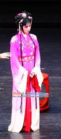 Chinese Kun Opera Young Lady Lin Daiyu Rosy Dress Apparels Costumes and Headpieces Dream of Red Mansions Kunqu Opera Actress Garment