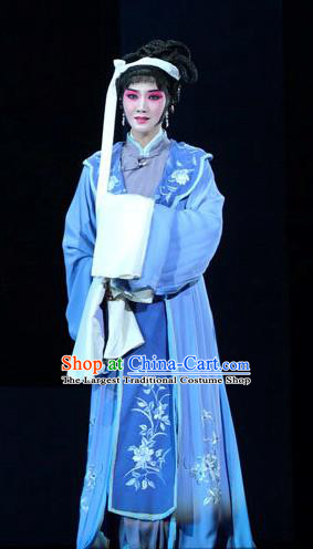 Chinese Kun Opera Tsing Yi Blue Dress Costumes and Headdress Dream of Red Mansions Kunqu Opera Distress Maiden Li Wan Garment Apparels