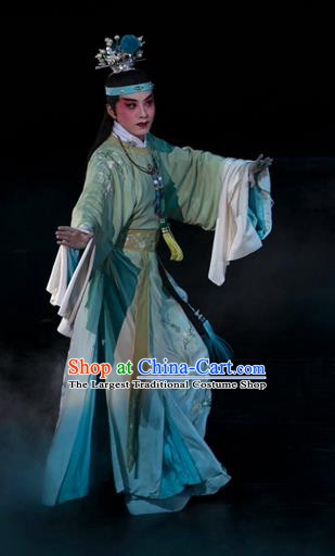Chinese Kun Opera Young Male Jia Baoyu Apparels and Headwear Dream of Red Mansions Garment Costumes Kunqu Opera Noble Childe Clothing