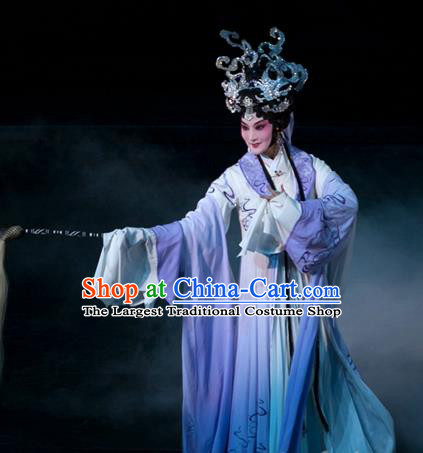 Chinese Kun Opera Young Female Dress Apparels and Headdress Dream of Red Mansions Kunqu Opera Taoist Nun Miao Yu Garment Costumes