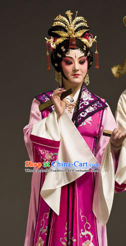 Chinese Kun Opera Noble Lady Wang Xifeng Apparels Costumes and Headdress Dream of Red Mansions Kunqu Opera Hua Tan Rosy Dress Garment