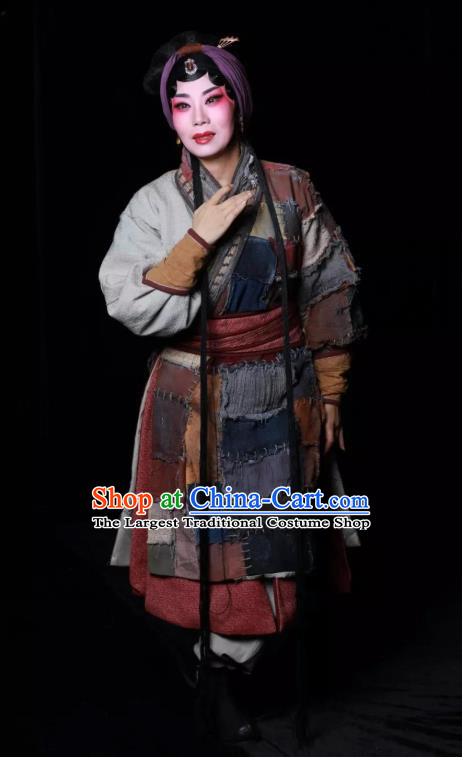 Chinese Kun Opera Poor Woman Dress Costumes and Headdress Meng Jiangnv Sends Winter Clothes Kunqu Opera Country Female Tian Garment Apparels