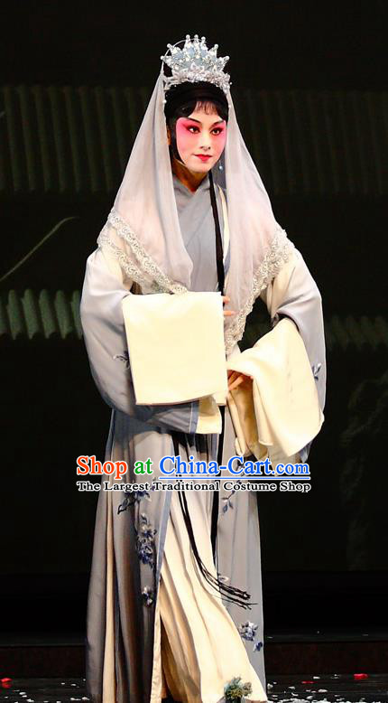 Chinese Kun Opera Taoist Nun Miao Yu Apparels Costumes and Headdress Dream of Red Mansions Kunqu Opera Actress Dress Garment