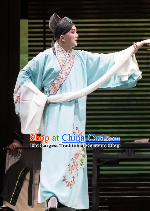 the Legend of Washing the Silk Gauze Chinese Kun Opera Scholar Liang Chenyu Garment Costumes and Headwear Kunqu Opera Young Male Apparels Clothing
