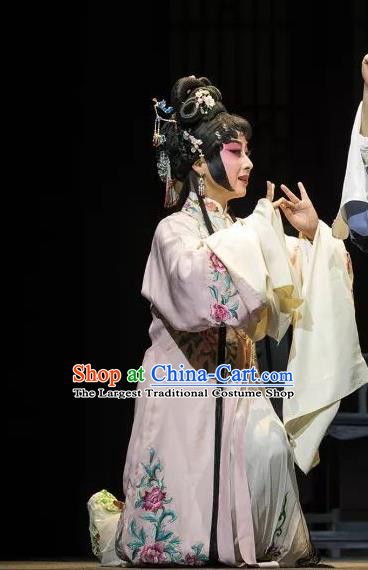 Chinese Kun Opera Young Lady Ruo Ye Dress Costumes and Headdress the Legend of Washing the Silk Gauze Kunqu Opera Actress Garment Apparels