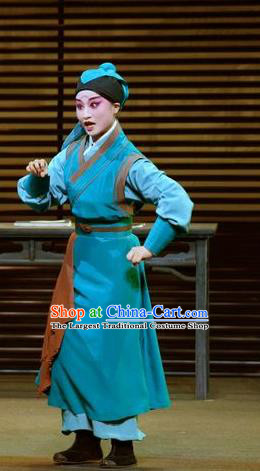 Chinese Kun Opera Young Servant Apparels Garment Costumes and Headwear the Legend of Washing the Silk Gauze Kunqu Opera Livehand Clothing