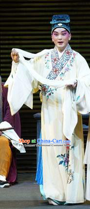 Chinese Kun Opera Young Male Liang Chenyu Apparels Garment Costumes and Headwear the Legend of Washing the Silk Gauze Kunqu Opera Scholar Robe Clothing