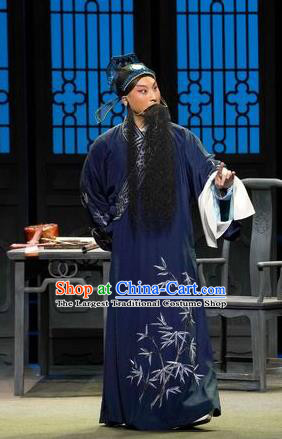 Chinese Kun Opera Middle Age Man Zhang Yetang Apparels Garment Costumes and Headwear the Legend of Washing the Silk Gauze Kunqu Opera Elderly Male Clothing