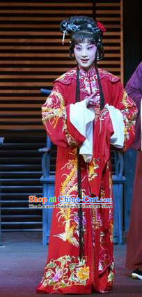 Chinese Kun Opera Diva Ruo Ye Red Apparels Costumes and Headpieces the Legend of Washing the Silk Gauze Kunqu Opera Hua Tan Wedding Dress Garment