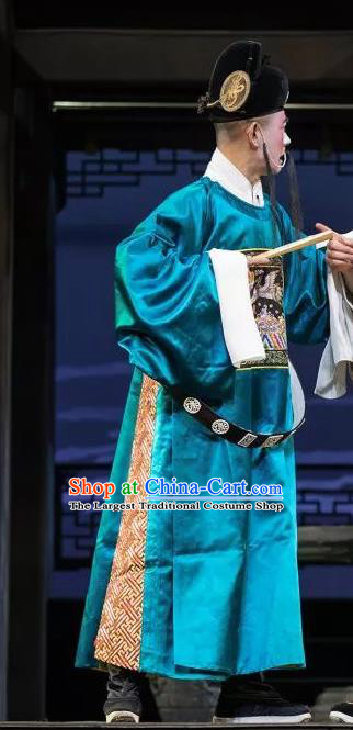 the Legend of Washing the Silk Gauze Chinese Kun Opera County Magistrate Apparels Garment Costumes and Headwear Kunqu Opera Chou Role Clothing