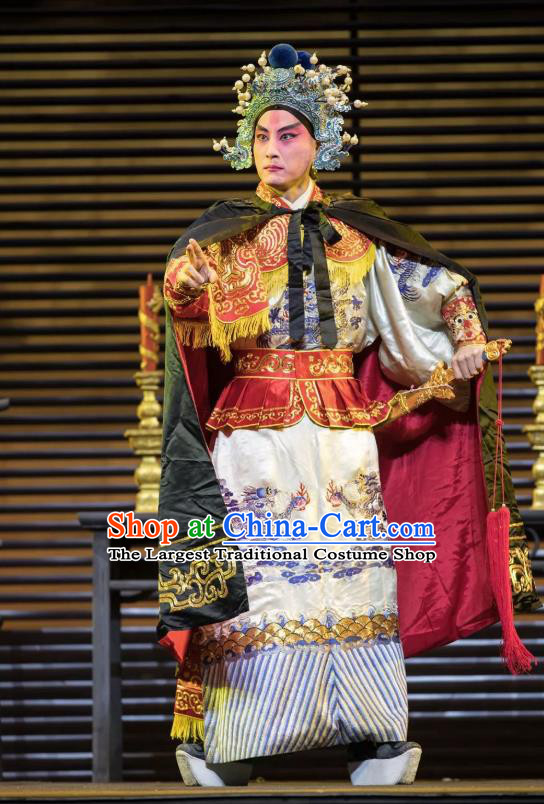 Chinese Kun Opera Takefu Warrior Apparels Garment Costumes and Headwear the Legend of Washing the Silk Gauze Kunqu Opera General Clothing