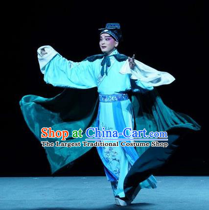 Chinese Kun Opera Scholar Apparels Garment Costumes and Headwear the Legend of Washing the Silk Gauze Kunqu Opera Young Man Clothing