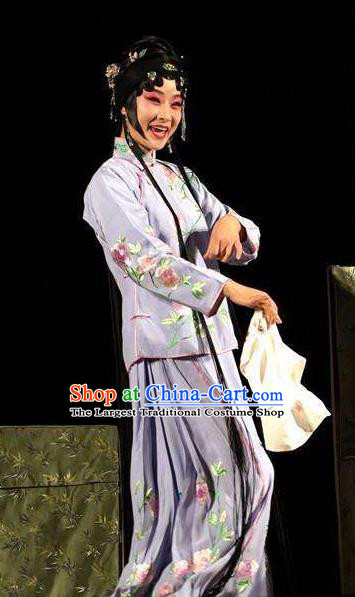 Chinese Kun Opera Xiaodan Ban Xia Purple Dress Apparels Costumes and Headpieces Six Chapters of a Floating Life Kunqu Opera Servant Girl Garment