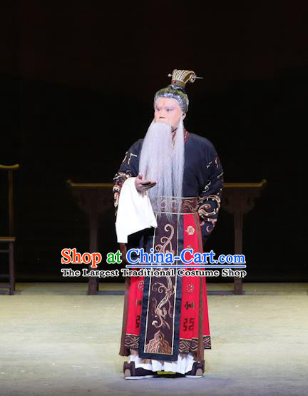 Chinese Kun Opera Emperor Yao Apparels Garment Costumes and Headwear Kunqu Opera the Dream of Xiang Fei Monarch Elderly Male Clothing