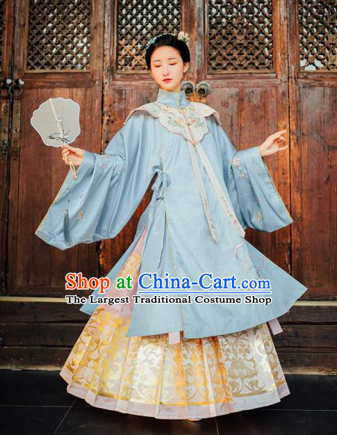 Chinese Traditional Ming Dynasty Palace Lady Hanfu Dress Ancient Princess Embroidered Garment Historical Costumes