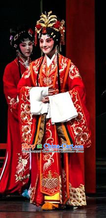 Chinese Kun Opera Actress Wedding Apparels Costumes and Headdress Dream of Red Mansions Kunqu Opera Bride Xue Baochai Red Dress Garment