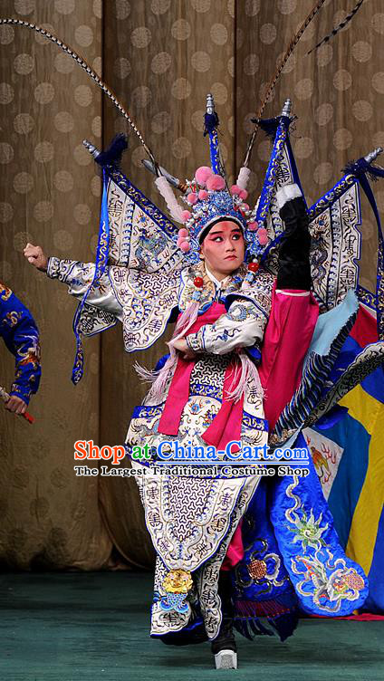 Interlocking Stratagem Chinese Kun Opera Martial Soldier Lv Bu Apparels Garment Costumes and Headwear Kunqu Opera General Kao Armor Suit with Flags