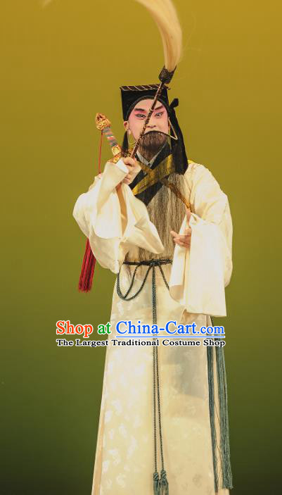 The Tale of Handan Chinese Kun Opera Elderly Male Apparels and Headwear Kunqu Opera Taoist Priest Garment Costumes