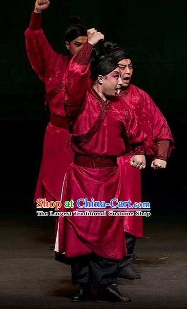 Romance Juliet Chinese Kun Opera Wusheng Apparels and Headwear Kunqu Opera Garment Figurant Young Male Red Costumes