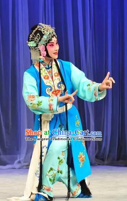 Chinese Kun Opera Xiaodan Apparels Costumes and Headpieces Leifeng Pagoda Kunqu Opera Young Lady Xiao Qing Blue Dress Garment
