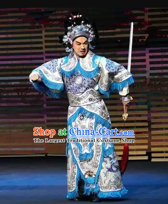 Gu Yanwu Chinese Kun Opera Warrior Apparels and Headwear Kunqu Opera General Garment Martial Male Costumes