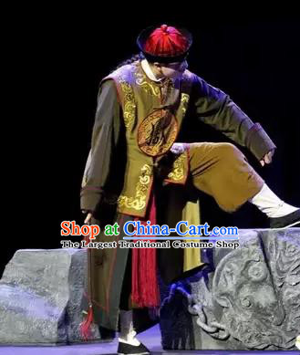 Gu Yanwu Chinese Figurant Chou Role Apparels and Headwear Kunqu Opera Soldier Garment Costumes